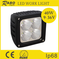 China 2016 new product Offroad 12v led work light, Auto led working lights, 40W waterproof square led work lamp for car