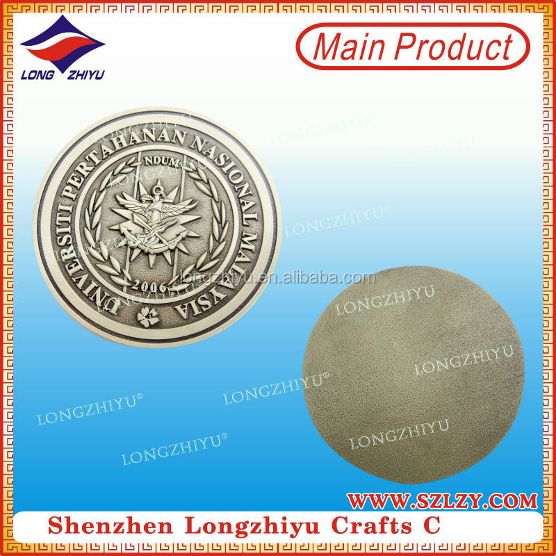Antique silver blanks coin maker in China,souvenir commemorative 3D zinc alloy casting coin metal crafts manufacturer