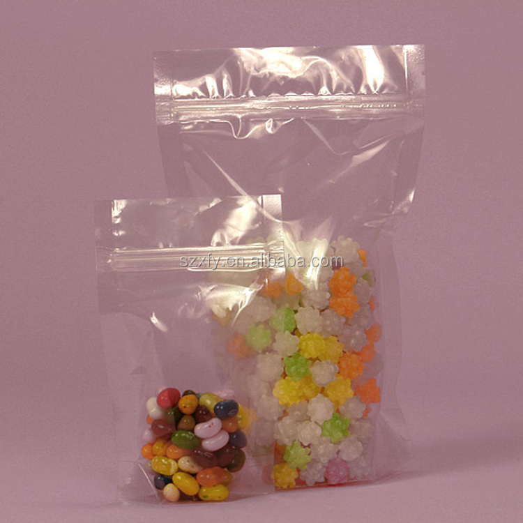 Resuable Clear Stand Up Plastic Candy Bag Jelly Candy Packaging with Tight Zipper