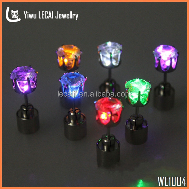 ( Single ) LED Crown <strong>Earrings</strong> Light up Bling Studs , 8 Color Crystal <strong>Earrings</strong> , Glowing Jewelry