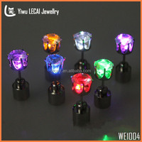 ( Single ) LED Crown Earrings Light up Bling Studs , 8 Color Crystal Earrings , Glowing Jewelry