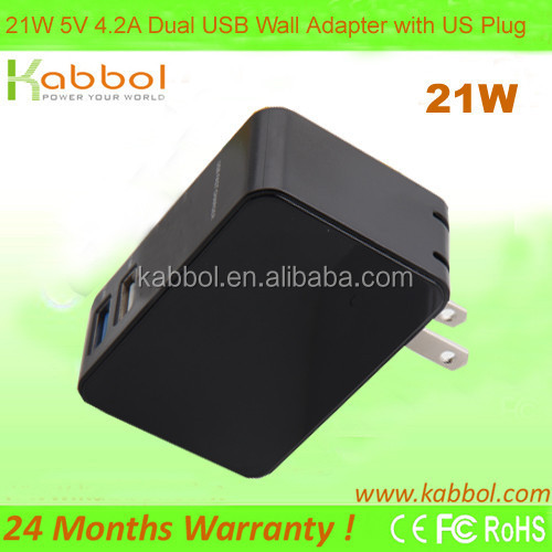 24W 4.8A Portable Dual Port USB Wall Charger Travel Power Adapter for iPhone 6 Plus,Galaxy S6 , iPad 5 4 Mini,Google Tablet
