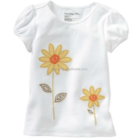 2016 latest baby girl summer clothing plain dyed toddler t shirts for girls