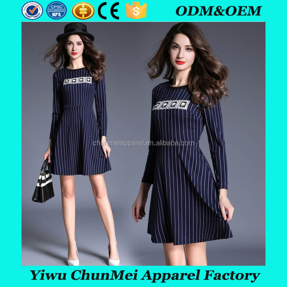 new coming Fashion Striped Women Dress long Sleeve O Neck Loose Woman Casual Dress