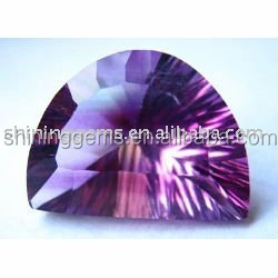 facet charming dark amethyst half moon cut shining cubic zirconia stone