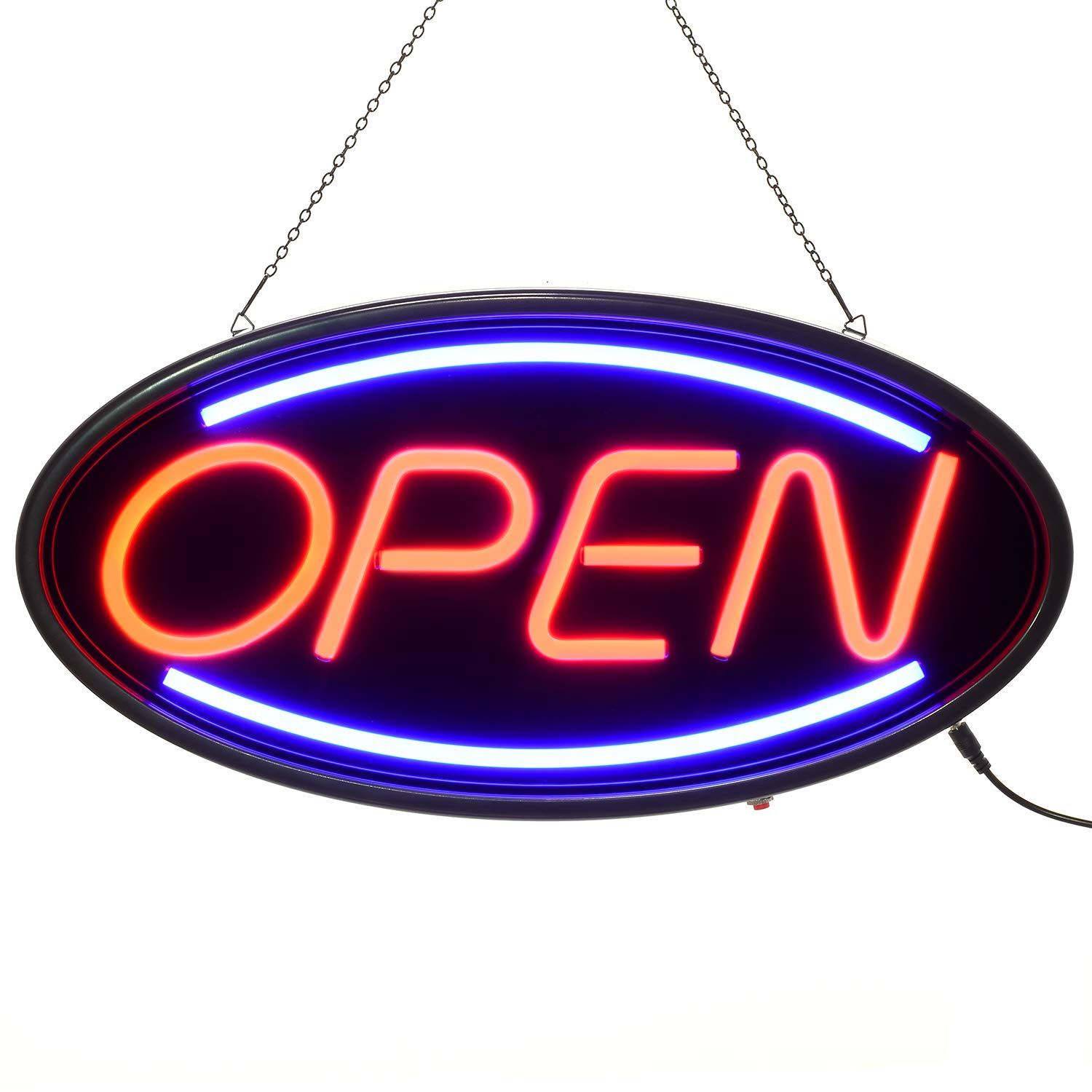 Manufacturer custom easy use hanging LED lights flex neon <strong>sign</strong> OPEN for adverting neon light
