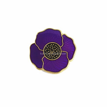 Making Custom Poppy Flower Lapel Pin Peace Leaf Poppy Metal Enamel Pin manufacture China