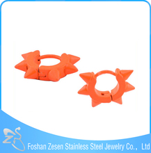 ZS06062 Stainless steel hot wholesale orange spikes duplicate jewelry earrings