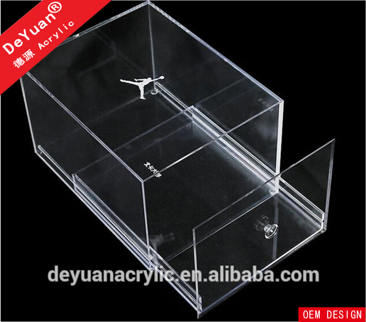 High quality transparent acrylic nike logo printing shoes box with drawer