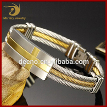 Handmade Men's Pulsera Cross Cutouts Gold Silver Color 316L Stainless Steel Bangle