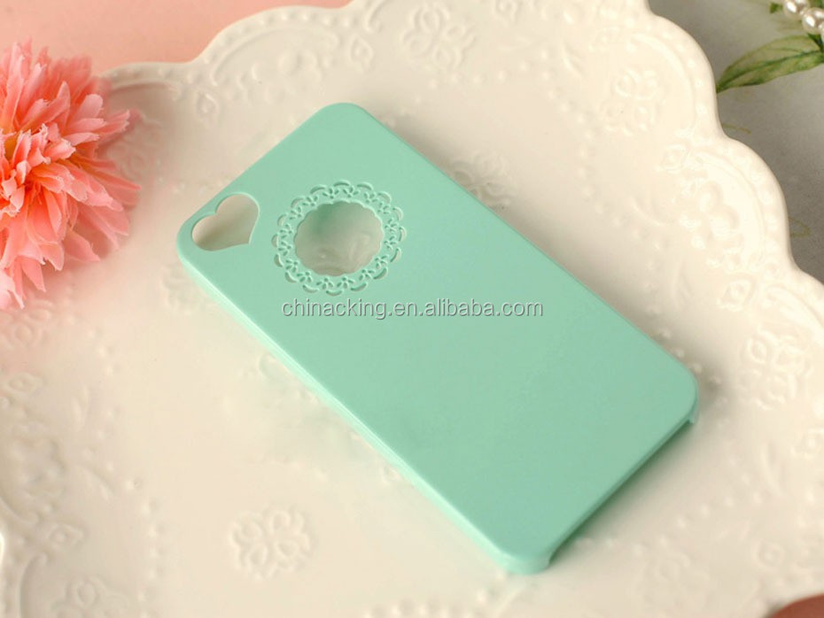 Cute Candy Color Loving Heart Flower Lace Hard Phone Case Cover For Apple iPhone 5 5s 4 4S