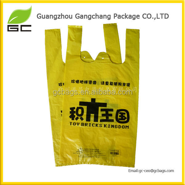 Supermarket custom transparent pe ldpe hdpe packaging t-shirt shopping plastic bag