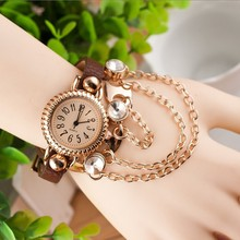Drop Shipping, New Arrial PU Leather Strap Women Watches Fashion chian Lady Dress Watch