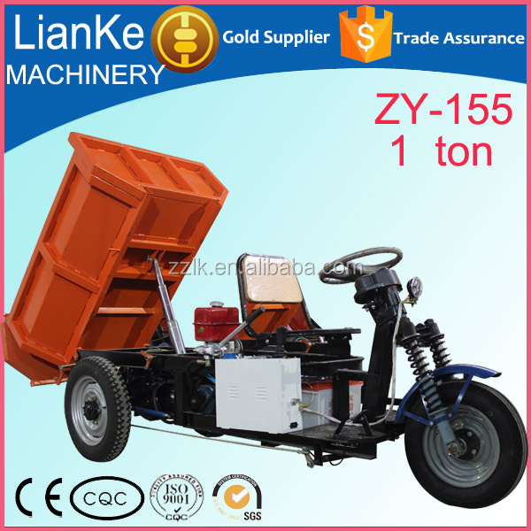 Open Body small electric trucks/cheap cargo electric tricycle/1 ton hydraulic dumper trucks