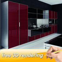 FREE sample available Red And Black Kitchen Cabinet