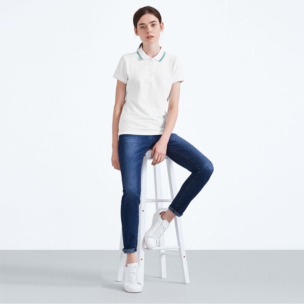 Popular Lady polo t-shirt with 95% cotton and 5% spandex