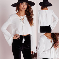 Fashion white lace-up neck flared sleeves model elegant blouses