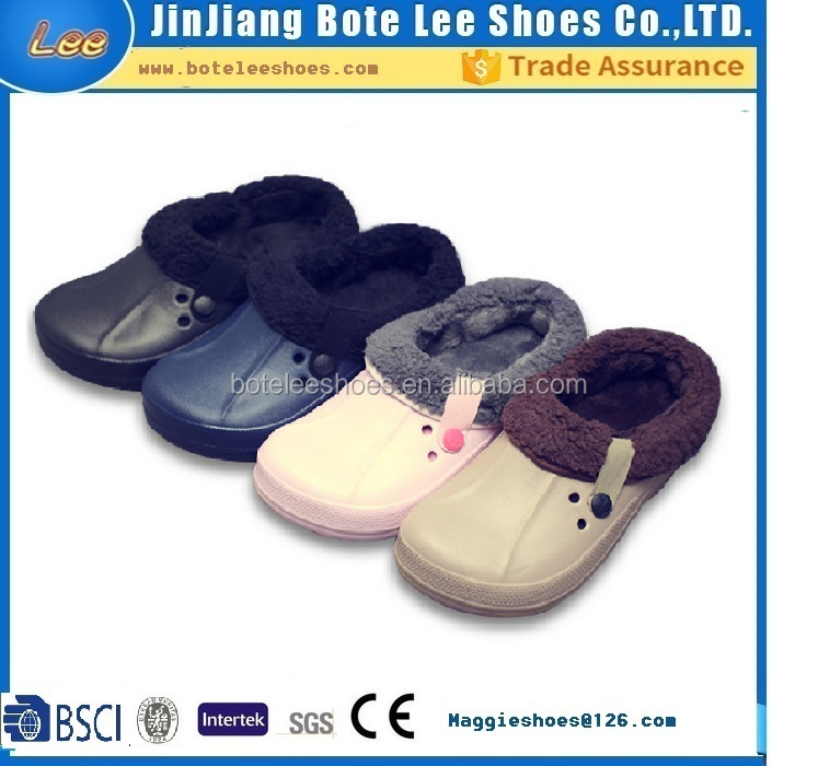 2017 customized winter warm eva garden shoes clogs with fur lining