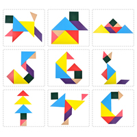 lagopus Wooden toys Tangram 7 Piece Jigsaw Puzzle Colorful Square IQ Game Brain Teaser Intelligent toys christmas gift for Kids