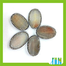 fashion beautiful crystal pave large gray oval shape agate slab slice pendants