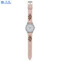 2018 Beautiful pink embroider young lady watch