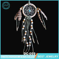Beautiful Color Beads PU Leather Strap Spider Shape Net Chicken Feather Dream Catcher