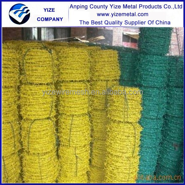 alibabab best selling PVC coated barb wire, green, blue, yellow color barb wire
