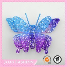 Green plastic butterfly fancy hair barrettes