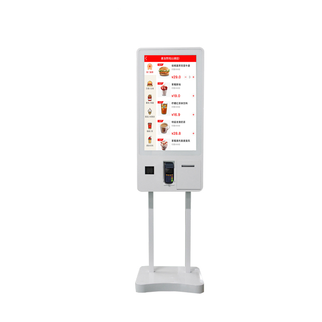 32lnch self service fast food <strong>payment</strong> kiosk with printer and scanner all in one touch floor standing lcd digital signage