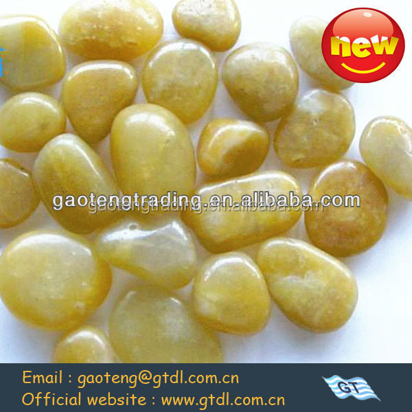 yellow color polished tumbled pebble stone for garden decorating