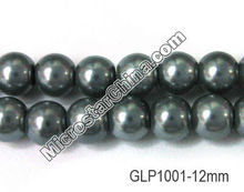 Cute black round glass pearl beads for jewelry 12mm