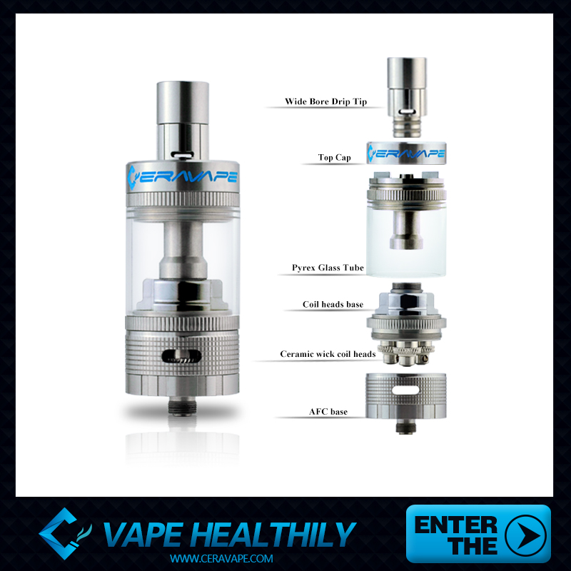 rebuildable ceravape ceramic wick soter tank 8ml with 3 cermic coil heads, 6 heating coils