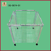 Supermarket foldable metal wire basket display rack/Wire mesh stacking baskets/Promotion Cage