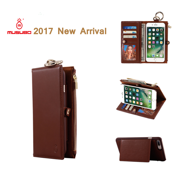 Musubo New Arrival Card Slot Wallet Leather Cell Phone Case Cover With Stand Holder for iPhone 7 7plus 6 6plus