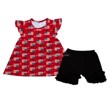 Sue lucky new release American flag prints baby girl july 4th day clothing sets wholesale