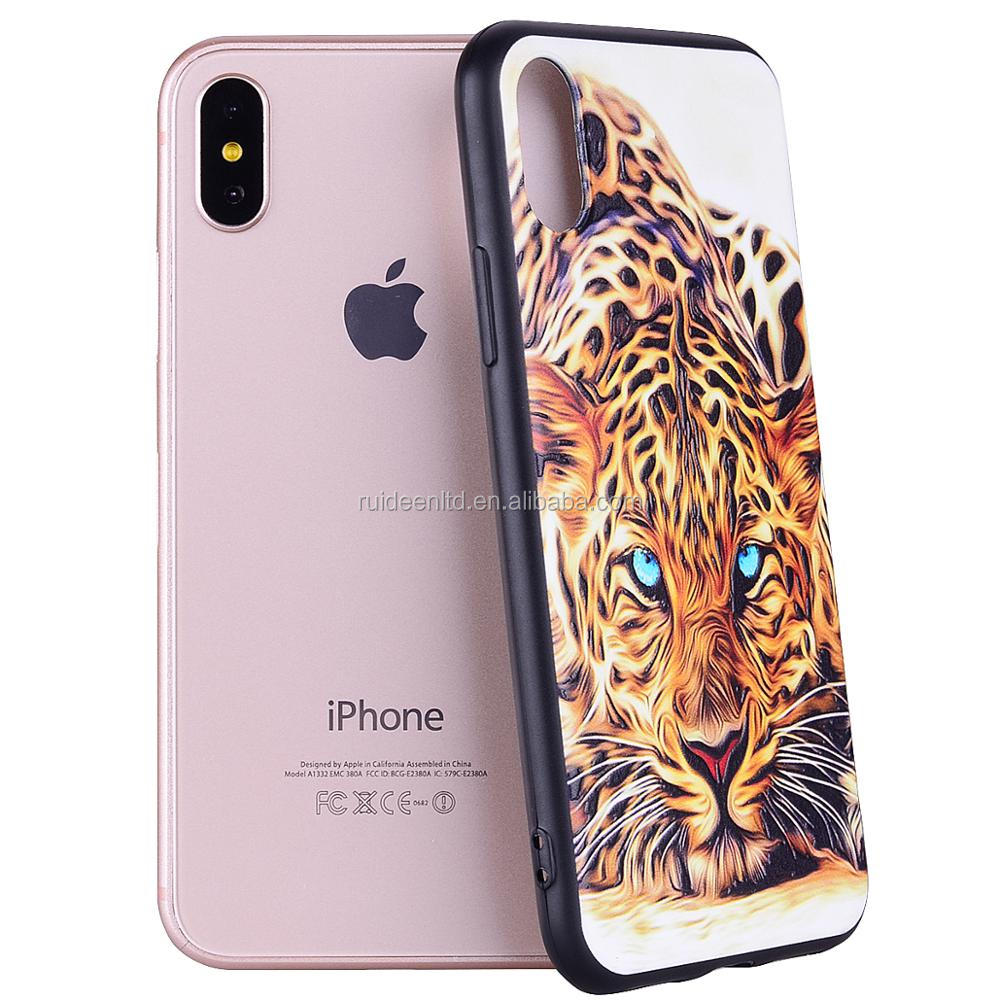 Customize Relief Printing Tiger Pattern Design Mobile Phone Case For Apple iPhone X, Cell Phone Case for Samsung (JM-02)