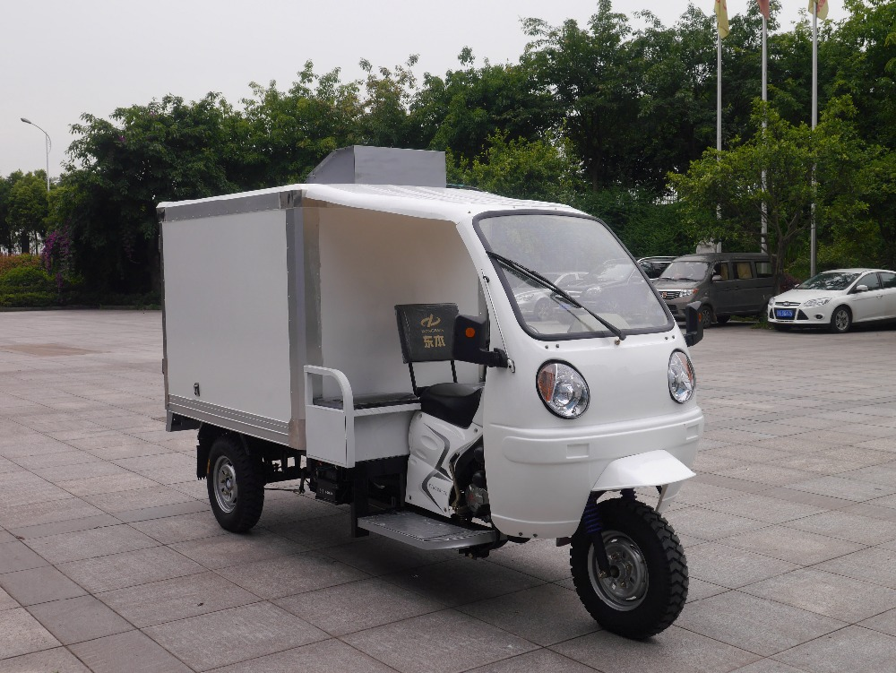 ice cream 3 wheeler tuna freezer with closed cabin freezer tricycle