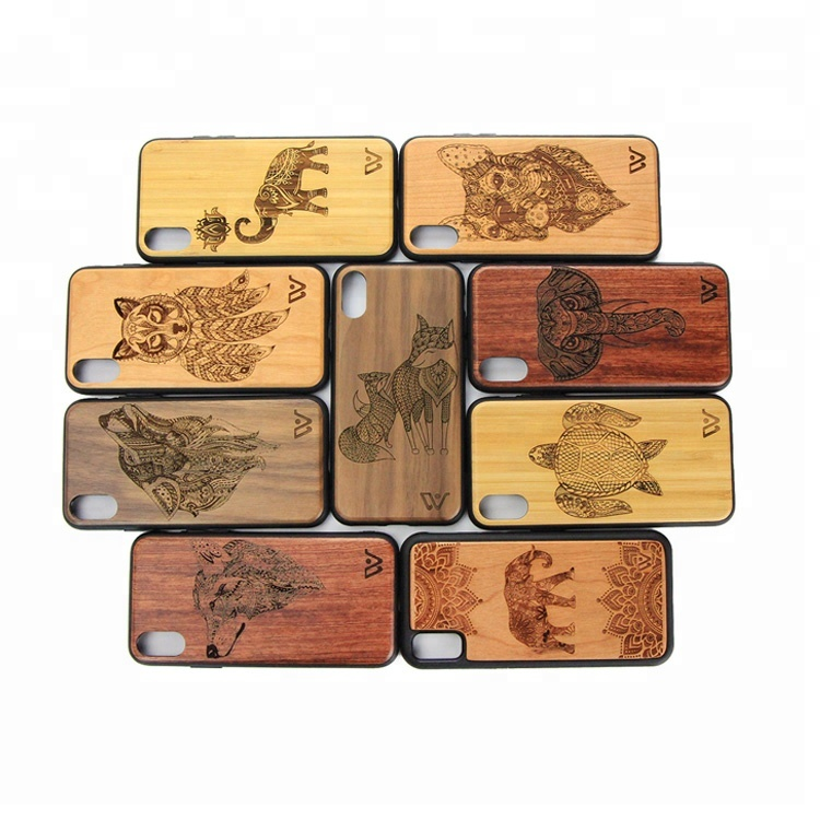Bamboo Wood Carving Phone Case Cover for iPhone 8 Wood Case Shockproof Hard Back Cover Cases for iPhone X