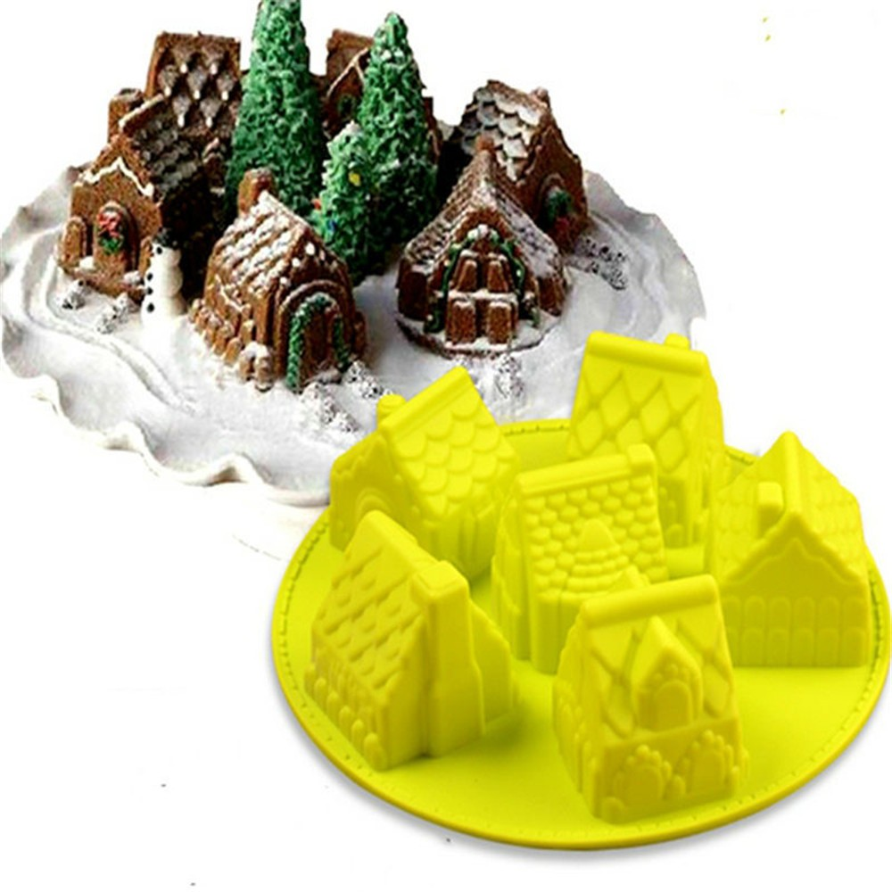 6 cavity castle shaped cake fondant jelly silicone soap molds for christmas bakeware