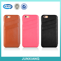 2016 New Trend Genuine Leather Flip Cover for iphone 6 with Card Slot