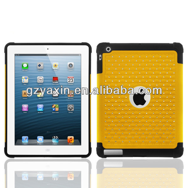 Fashion chrome electroplating bling star diamond mobile cover for ipad 2