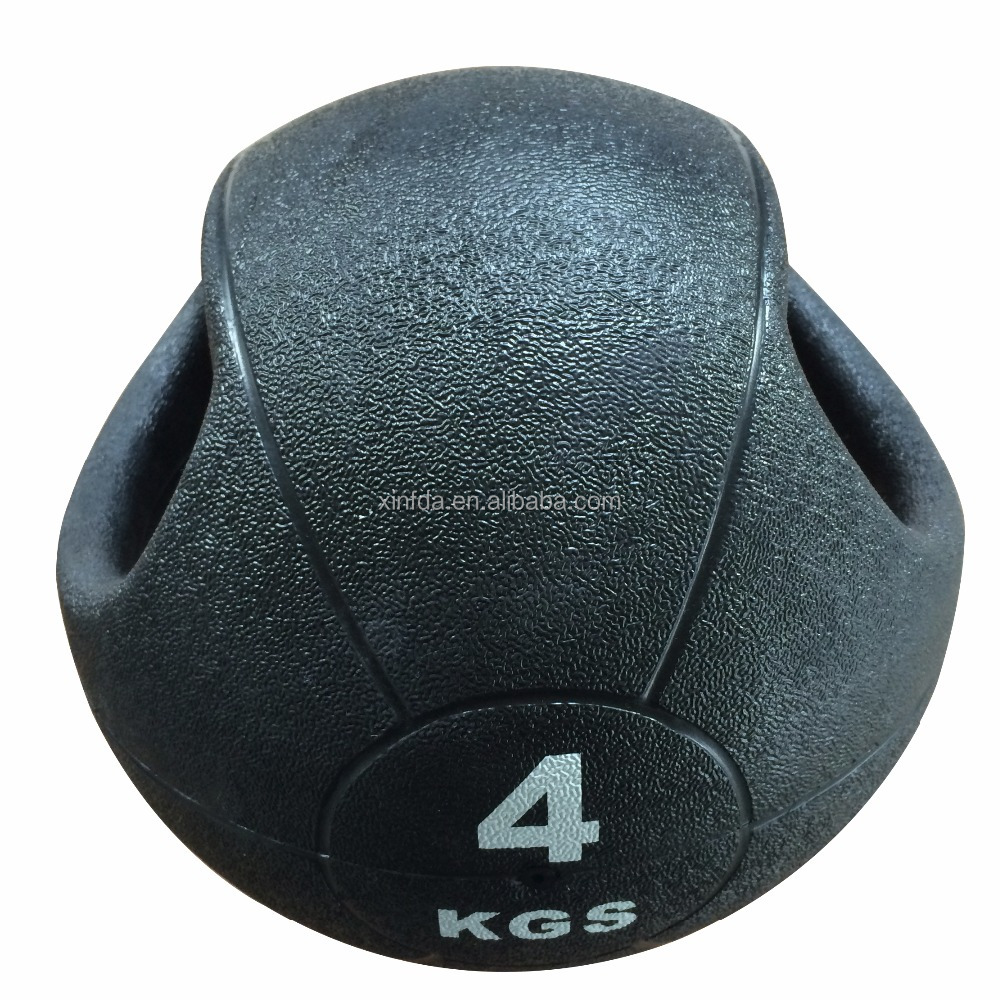 New Arrival Double Handle Fitness Equipment Rubber Medicine Ball With Daul Grip