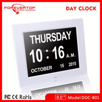 12 hours 24 hours display non-abbreviated easy to read elderly alarm clock desktop table clock DDC-8010