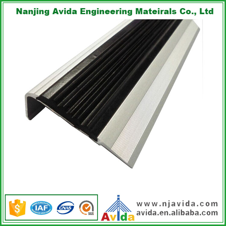 Indoor Metal Rubber Surface No Slip Stair Treads