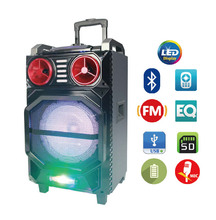 10 inch wooden super bass EQ DJ Party BT Blue tooth with Led display Light wireless Mic Portable Active trolley battery speaker