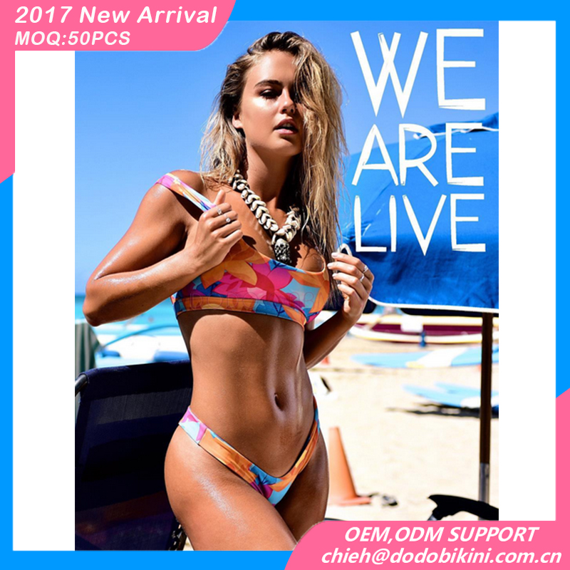 2017 custom swimwear color print brazilian beach sports bikini