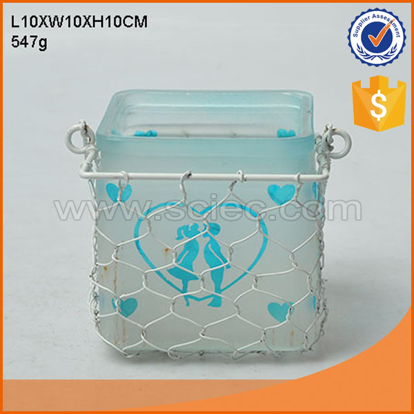 square glass candle holder wedding table centerpieces 10x10cm net stand handle