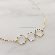 Fashion Gold Triple Hexagon Models Layering Necklace
