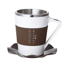 Creative LED Temperature Display Intelligent Electric Coffee <strong>Cups</strong>, Smart Swirl Mugs with Saucer