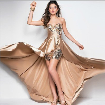 Ebay Hot Unique design Sexy Beading Short Front Long Back Evening Dress